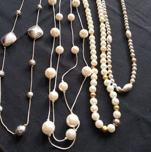 Jewelry - Bundle Pearl Bead Long Necklace Set of Four